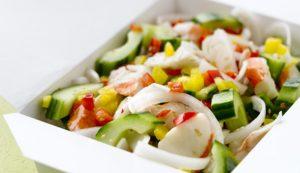 Sesame Cucumber Pepper Salad with Alaska Surimi Seafood