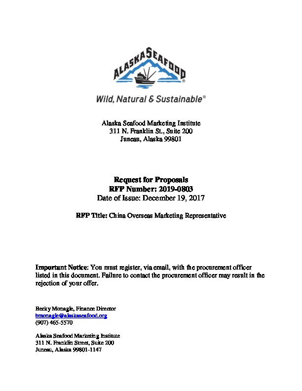 RFP 2019-0803 China Overseas Marketing Rep - Alaska Seafood