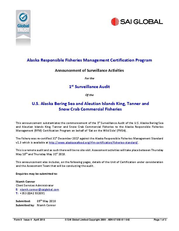 Alaska Crab Notice of 1st Surveillance, Team and Site Visit May 2018
